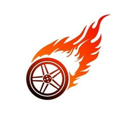 Red and orange burning car wheel vector image
