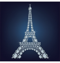 Eiffel tower - paris made up a lot of diamonds vector