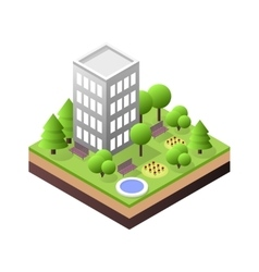3d isometric city building block dormitory area vector