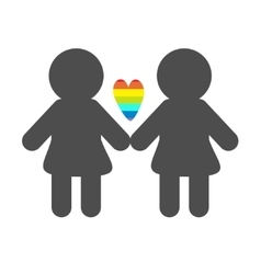 Gay marriage Pride symbol Two woman silhouette vector image