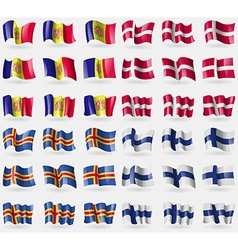 Andorra denmark aland finland set of 36 flags of vector