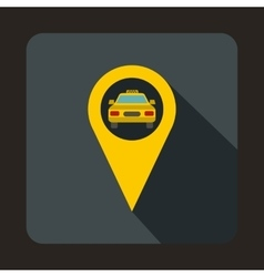 Geo taxi icon flat style vector