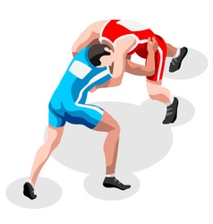 Wrestling fight 2016 sports 3d isometric vector