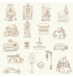 Scrapbook design elements - small town doodles vector