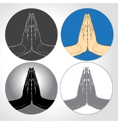 Two hands pressed together in prayer position set vector