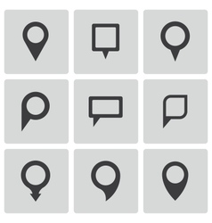 black map pointer icons set vector image vector image
