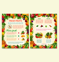 brochure of tropical exotic fruits vector image vector image
