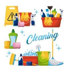 cleaning elements set with brooms bucket mop spray vector image