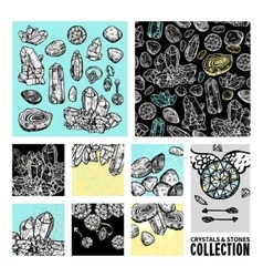Crystals And Stones Hand Drawn Set vector image vector image
