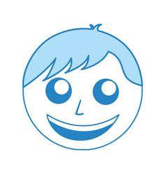 cute blue man face cartoon vector image