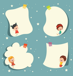 cute cartoon kids and empty template design vector image vector image