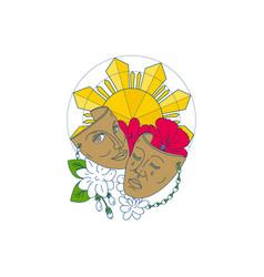 Drama mask philippine sun hibiscus sampaguita vector