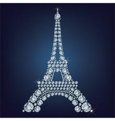 Eiffel tower - paris made up a lot of diamonds vector