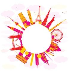 famous international landmarks vector image vector image
