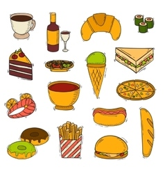Fast food handmade icons vector