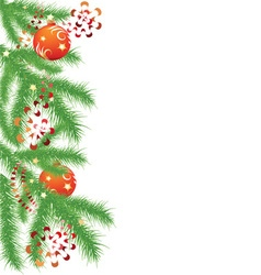 Fir branch and red christmas balls vector