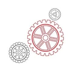 Gears set stroke vector image