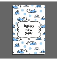 Happy new year card with cute cartoon walrus vector
