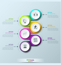 infographic design template with 6 multicolored vector image