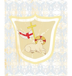 Lamb with cross - abstract grunge card vector