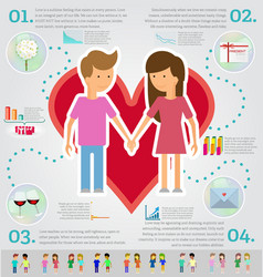 Love marriage couple infographic set Flat style vector image vector image