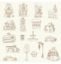 Scrapbook design elements - small town doodles vector