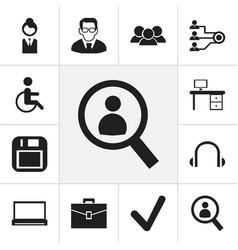 set of 12 editable bureau icons includes symbols vector image vector image