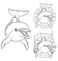 Set of dolphin logo design element vector image