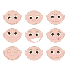 set of faces with child different emotions vector image vector image