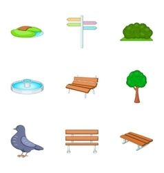 Trees and other park elements icons set vector