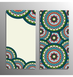 Vertical flyer template with mandala pattern vector image vector image