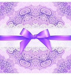 Violet lacy greeting card cover with purple ribbon vector
