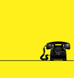 Yellow background with rotary vintage telephone vector