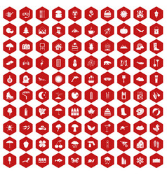 100 landscape icons hexagon red vector