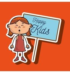 girl kids happy poster vector image