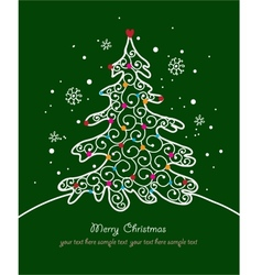 Christmas card with tree and ornaments xmas card vector