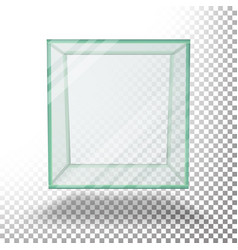 Empty transparent glass box cube  isolated vector
