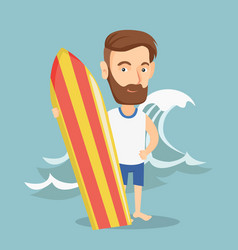 Surfer holding a surfboard vector