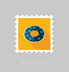 Swimming circle on water stamp summer vacation vector
