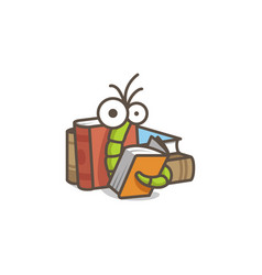 Funny green worm reading an orange book vector