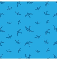Doodle swallow birds seamless pattern vector