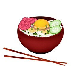 Bowl of boiled rice with raw egg and tuna vector