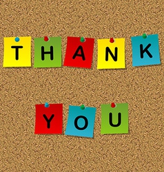Colored stick notes with words thank you pinned to vector