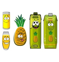 Cartoon pineapple fruit juice packs and glasses vector
