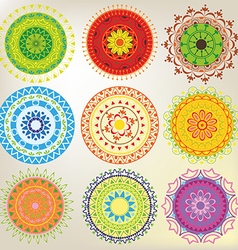 Set of 9 colored mandalas vector