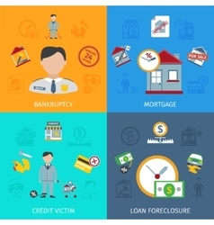 Loan foreclosure icons set vector