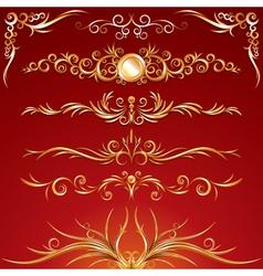 Golden ornamental elements vector