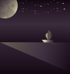 A sailboat in the moonlight vector