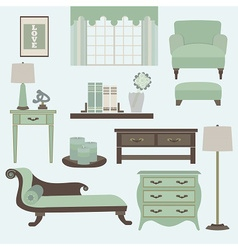 Living room furniture and accessory in green teal vector