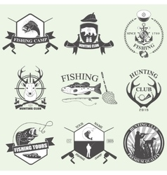 Set of vintage hunting and fishing vector
